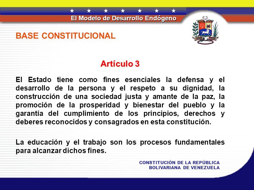 REPÚBLICA BOLIVARIANA DE VENEZUELA El Modelo de Desarrollo Endógeno CONSTITUCIÓN DE LA REPÚBLICA BOLIVARIANA DE VENEZUELA BASE CONSTITUCIONAL Artículo