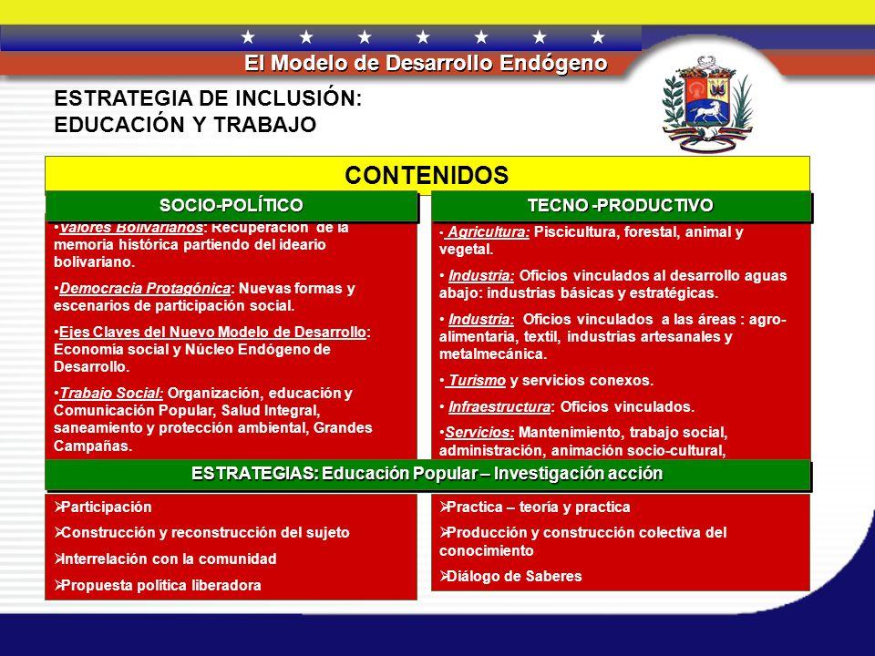 REPÚBLICA BOLIVARIANA DE VENEZUELA El Modelo de Desarrollo Endógeno CONTENIDOS ESTRATEGIA DE INCLUSIÓN: EDUCACIÓN Y TRABAJO Agricultura: Piscicultura,
