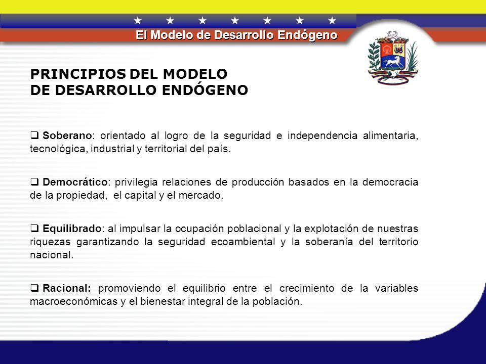 REPÚBLICA BOLIVARIANA DE VENEZUELA El Modelo de Desarrollo Endógeno PRINCIPIOS DEL MODELO DE DESARROLLO ENDÓGENO Soberano: orientado al logro de la se