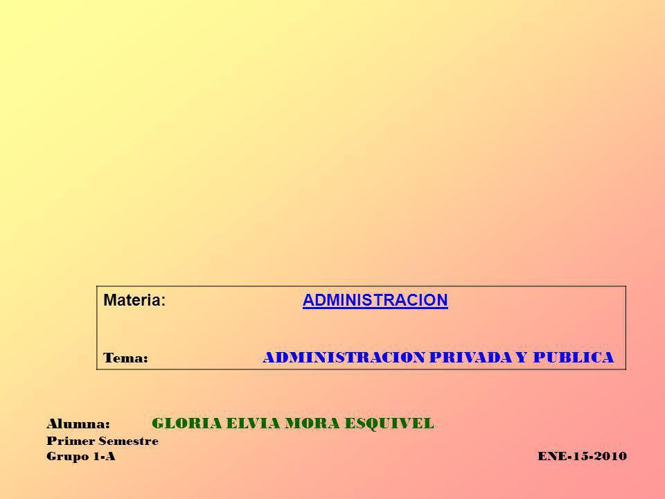 Materia:ADMINISTRACION Tema: ADMINISTRACION PRIVADA Y PUBLICA Alumna: GLORIA ELVIA MORA ESQUIVEL Primer Semestre Grupo 1-A ENE-15-2010