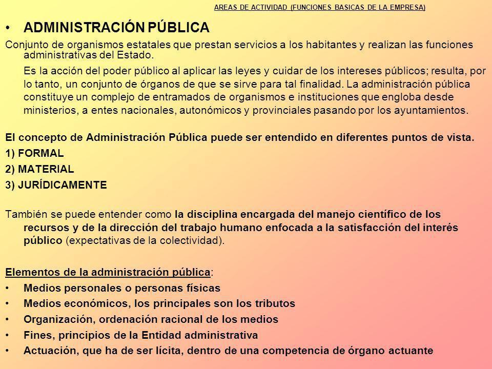ADMINISTRACIÓN PÚBLICA Conjunto de organismos estatales que prestan servicios a los habitantes y realizan las funciones administrativas del Estado. Es