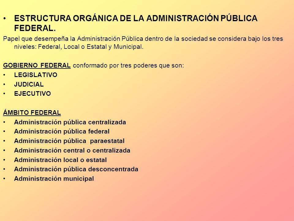 ESTRUCTURA ORGÁNICA DE LA ADMINISTRACIÓN PÚBLICA FEDERAL. Papel que desempeña la Administración Pública dentro de la sociedad se considera bajo los tr