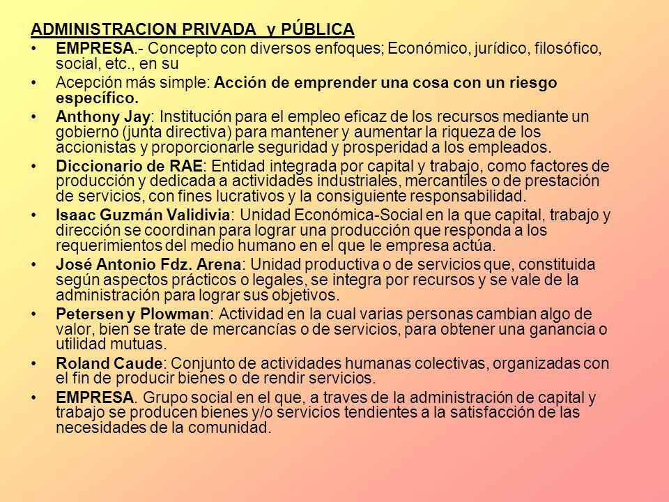 ADMINISTRACION PRIVADA y PÚBLICA EMPRESA.- Concepto con diversos enfoques; Económico, jurídico, filosófico, social, etc., en su Acepción más simple: A