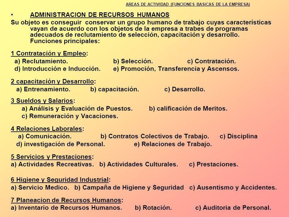 ADMINISTRACION DE RECURSOS HUMANOS Su objeto es conseguir conservar un grupo humano de trabajo cuyas características vayan de acuerdo con los objetos