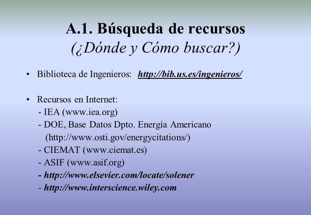 Biblioteca de Ingenieros: http://bib.us.es/ingenieros/ Recursos en Internet: - IEA (www.iea.org) - DOE, Base Datos Dpto.