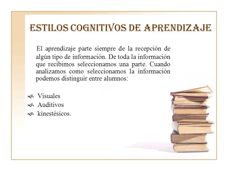 ESTILOS COGNITIVOS DE APRENDIZAJE El aprendizaje parte siempre de la recepción de algún tipo de información. De toda la información que recibimos sele