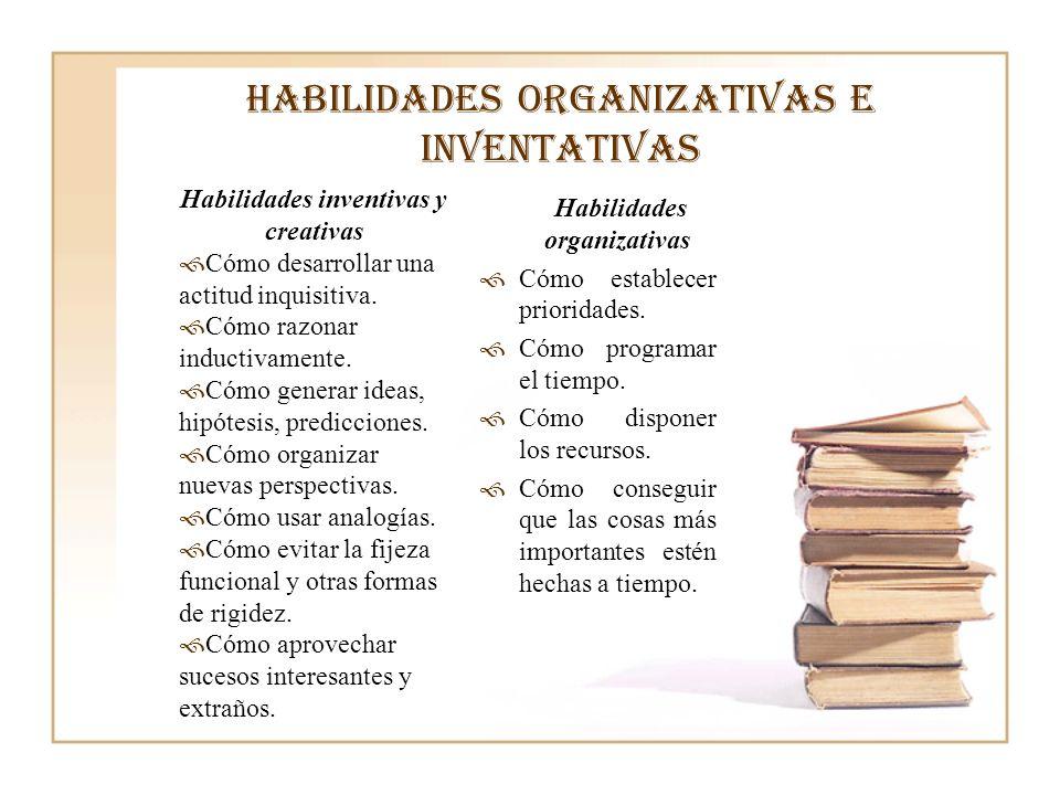 Habilidades organizativas e inventativas Habilidades inventivas y creativas Cómo desarrollar una actitud inquisitiva. Cómo razonar inductivamente. Cóm