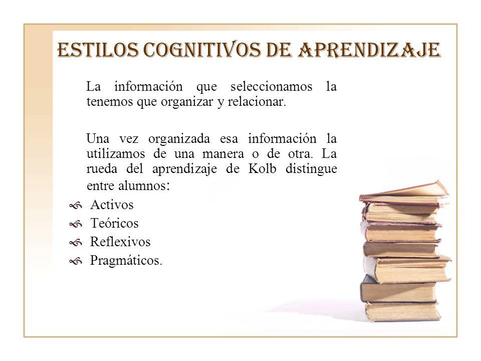 ESTILOS COGNITIVOS DE APRENDIZAJE La información que seleccionamos la tenemos que organizar y relacionar. Una vez organizada esa información la utiliz