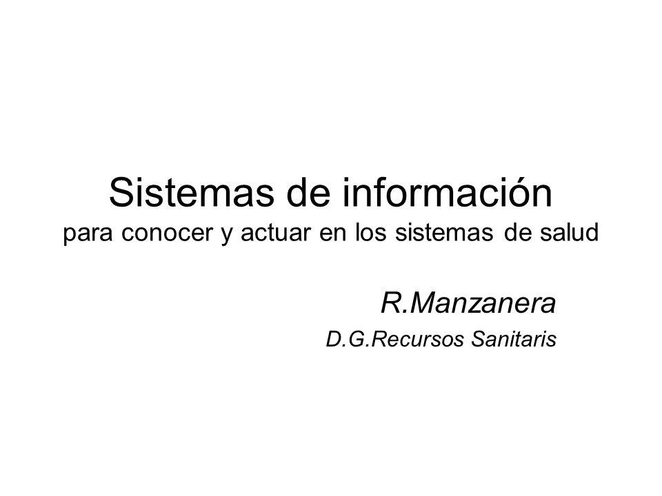 Sistemas de información para conocer y actuar en los sistemas de salud R.Manzanera D.G.Recursos Sanitaris