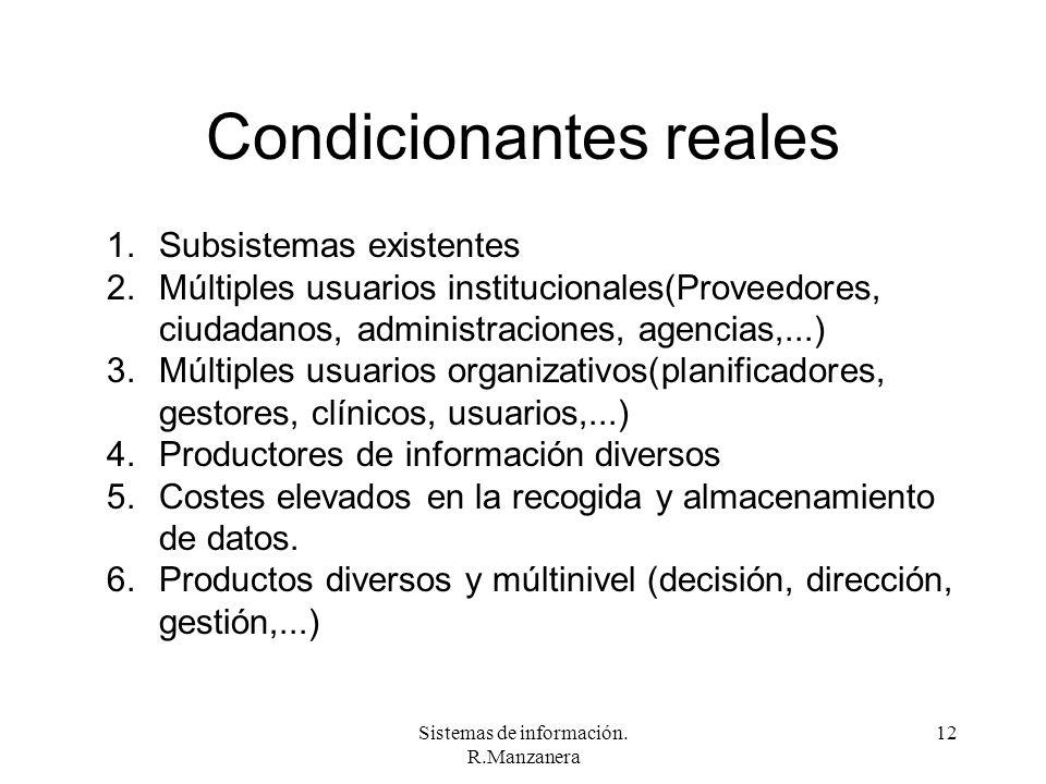 Sistemas de información. R.Manzanera 12 Condicionantes reales 1.Subsistemas existentes 2.Múltiples usuarios institucionales(Proveedores, ciudadanos, a
