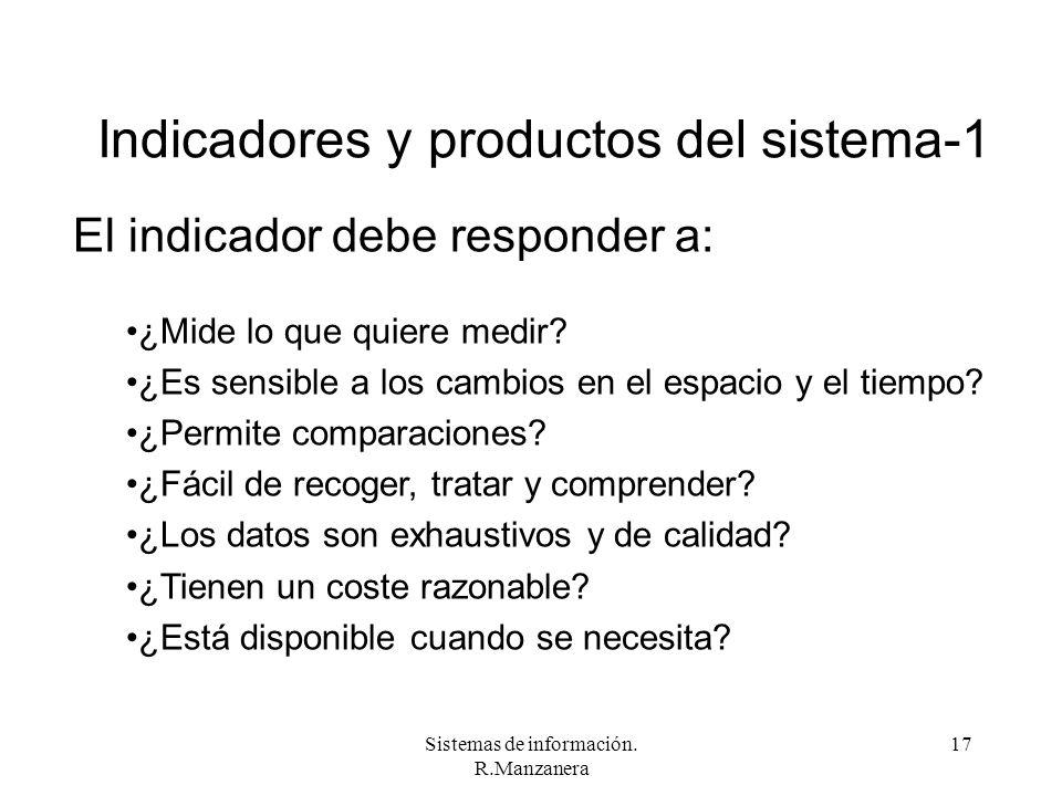 Sistemas de información. R.Manzanera 17 Indicadores y productos del sistema-1 El indicador debe responder a: ¿Mide lo que quiere medir? ¿Es sensible a