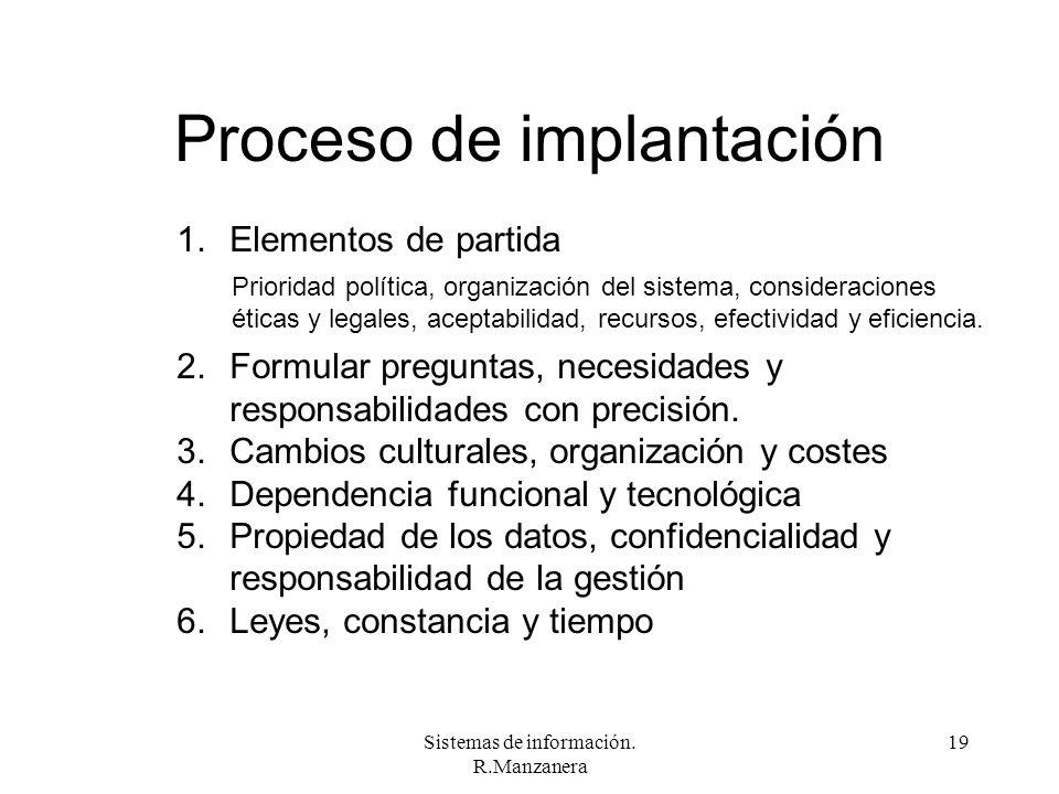Sistemas de información. R.Manzanera 19 Proceso de implantación 1.Elementos de partida 2.Formular preguntas, necesidades y responsabilidades con preci