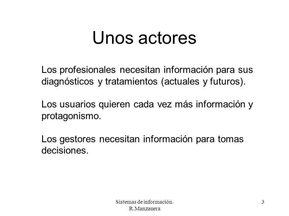 Sistemas de información. R.Manzanera 3 Unos actores Los profesionales necesitan información para sus diagnósticos y tratamientos (actuales y futuros).