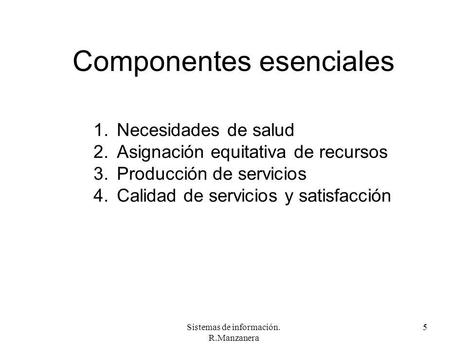 Sistemas de información. R.Manzanera 5 Componentes esenciales 1.Necesidades de salud 2.Asignación equitativa de recursos 3.Producción de servicios 4.C