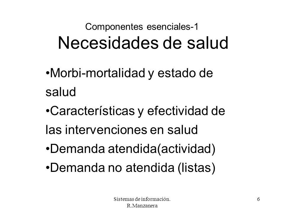 Sistemas de información. R.Manzanera 6 Componentes esenciales-1 Necesidades de salud Morbi-mortalidad y estado de salud Características y efectividad