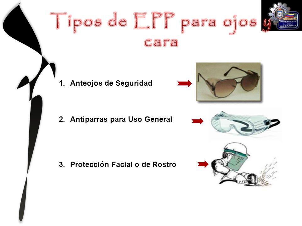 1.Anteojos de Seguridad 2.Antiparras para Uso General 3.Protección Facial o de Rostro