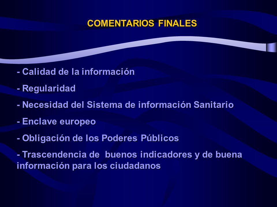 COMENTARIOS FINALES - Calidad de la información - Regularidad - Necesidad del Sistema de información Sanitario - Enclave europeo - Obligación de los Poderes Públicos - Trascendencia de buenos indicadores y de buena información para los ciudadanos