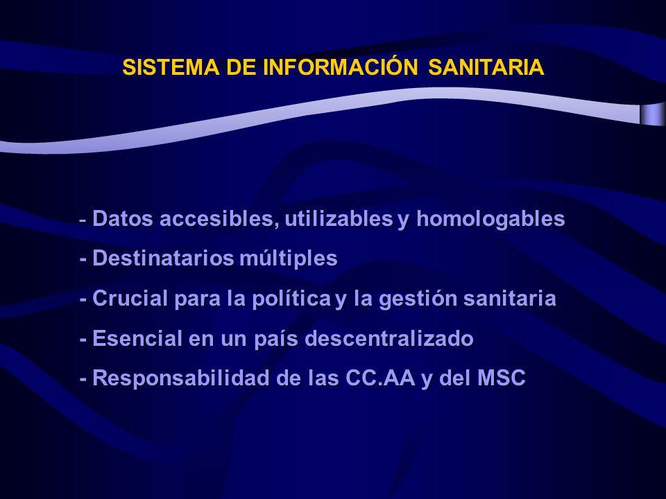 SISTEMA DE INFORMACIÓN SANITARIA - Datos accesibles, utilizables y homologables - Destinatarios múltiples - Crucial para la política y la gestión sanitaria - Esencial en un país descentralizado - Responsabilidad de las CC.AA y del MSC