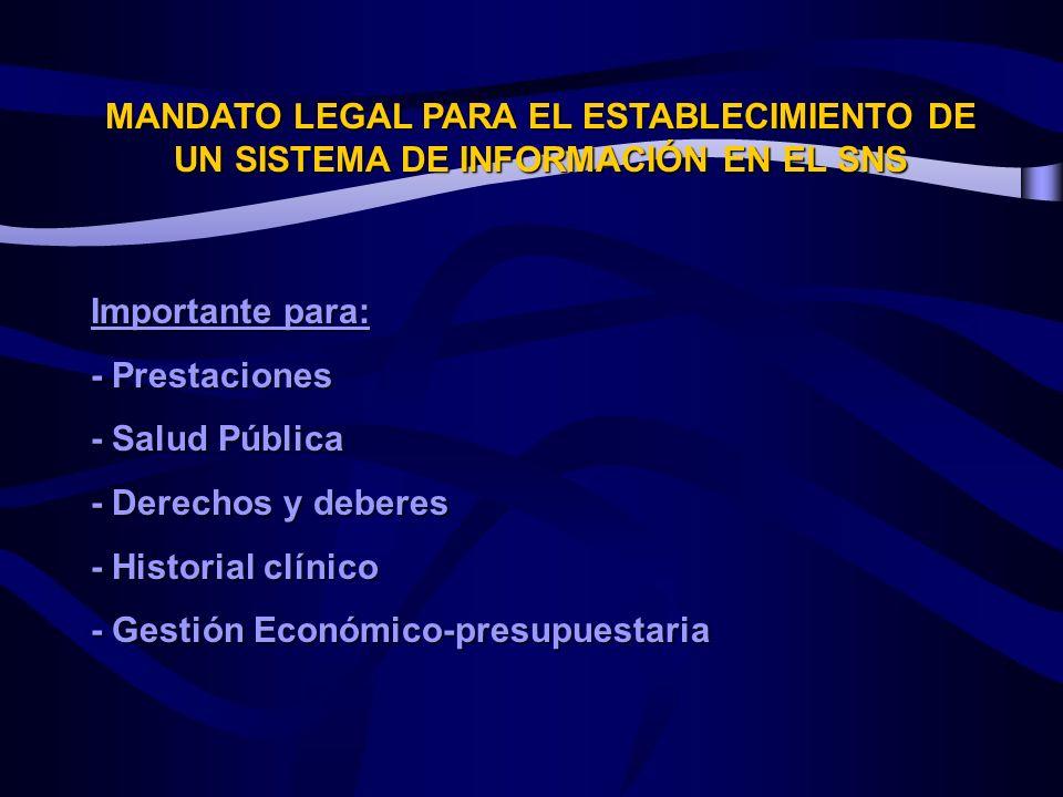 MANDATO LEGAL PARA EL ESTABLECIMIENTO DE UN SISTEMA DE INFORMACIÓN EN EL SNS Importante para: - Prestaciones - Salud Pública - Derechos y deberes - Historial clínico - Gestión Económico-presupuestaria
