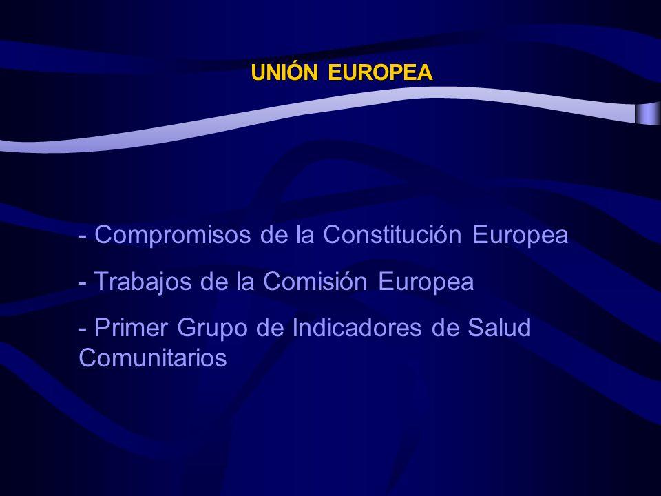 UNIÓN EUROPEA - Compromisos de la Constitución Europea - Trabajos de la Comisión Europea - Primer Grupo de Indicadores de Salud Comunitarios
