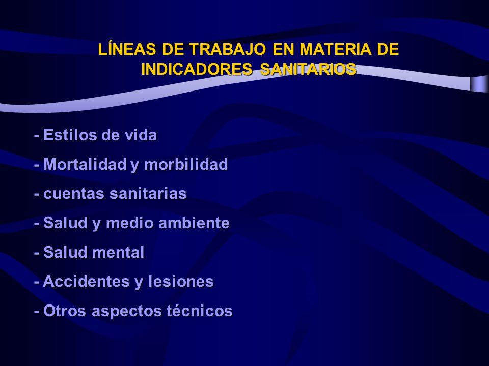 LÍNEAS DE TRABAJO EN MATERIA DE INDICADORES SANITARIOS - Estilos de vida - Mortalidad y morbilidad - cuentas sanitarias - Salud y medio ambiente - Salud mental - Accidentes y lesiones - Otros aspectos técnicos