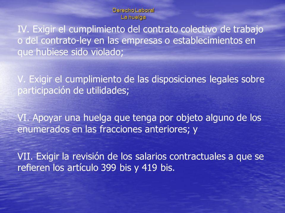 Derecho Laboral La huelga IV. Exigir el cumplimiento del contrato colectivo de trabajo o del contrato-ley en las empresas o establecimientos en que hu