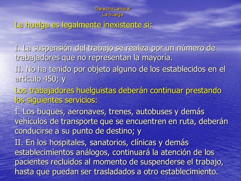 Derecho Laboral La huelga La huelga es legalmente inexistente si: I. La suspensión del trabajo se realiza por un número de trabajadores que no represe