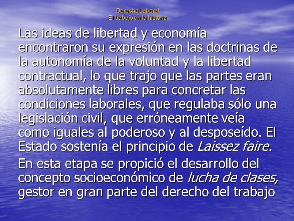 Derecho Laboral El trabajo en la historia Las ideas de libertad y economía encontraron su expresión en las doctrinas de la autonomía de la voluntad y