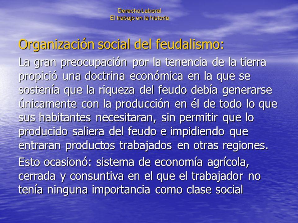 Derecho Laboral El trabajo en la historia Organización social del feudalismo: La gran preocupación por la tenencia de la tierra propició una doctrina
