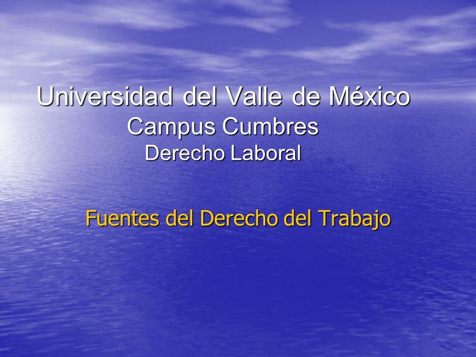 Universidad del Valle de México Campus Cumbres Derecho Laboral Fuentes del Derecho del Trabajo