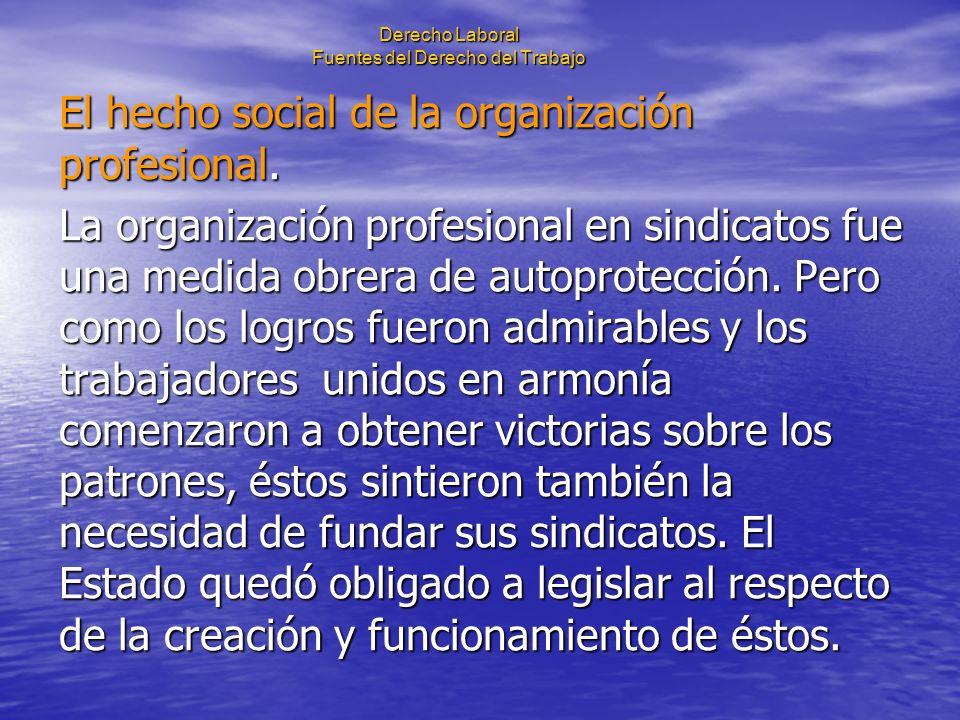 Derecho Laboral Fuentes del Derecho del Trabajo El hecho social de la organización profesional. La organización profesional en sindicatos fue una medi
