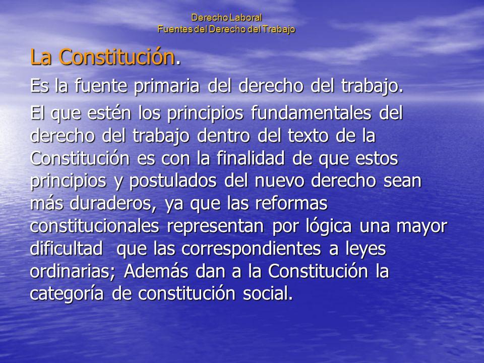 Derecho Laboral Fuentes del Derecho del Trabajo La Constitución. Es la fuente primaria del derecho del trabajo. El que estén los principios fundamenta