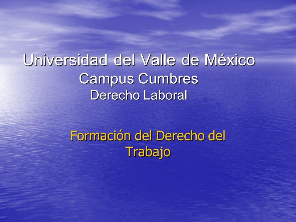 Universidad del Valle de México Campus Cumbres Derecho Laboral Formación del Derecho del Trabajo