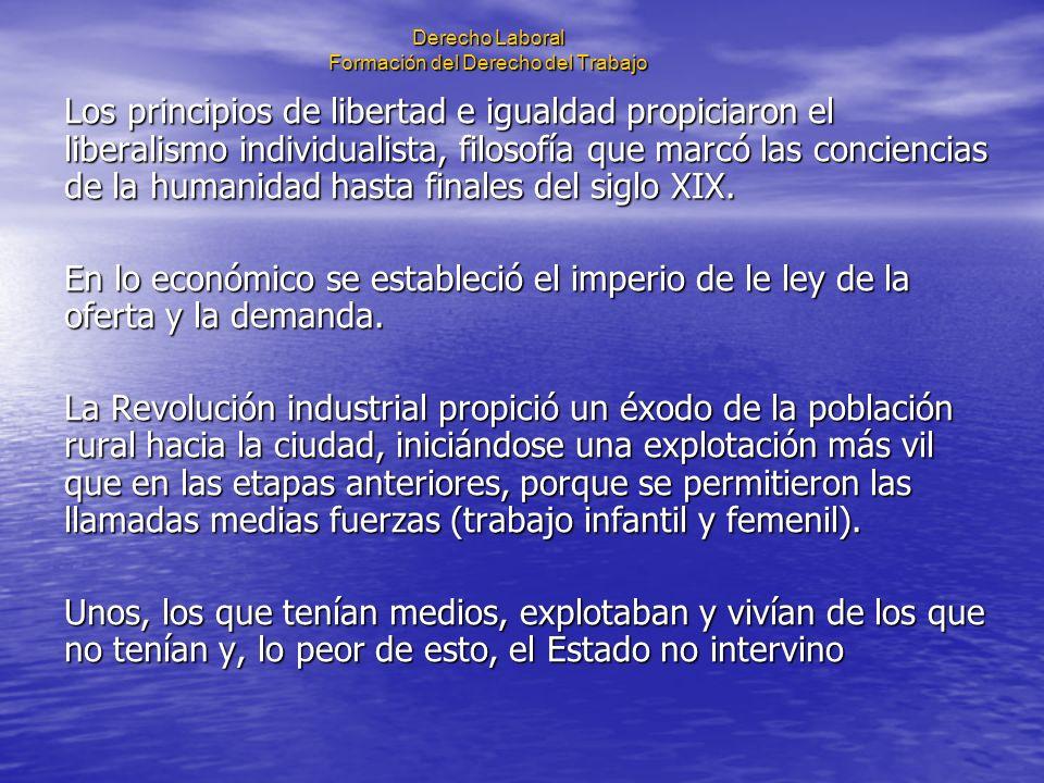 Derecho Laboral Formación del Derecho del Trabajo Los principios de libertad e igualdad propiciaron el liberalismo individualista, filosofía que marcó
