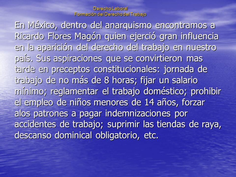 Derecho Laboral Formación del Derecho del Trabajo En México, dentro del anarquismo encontramos a Ricardo Flores Magón quien ejerció gran influencia en