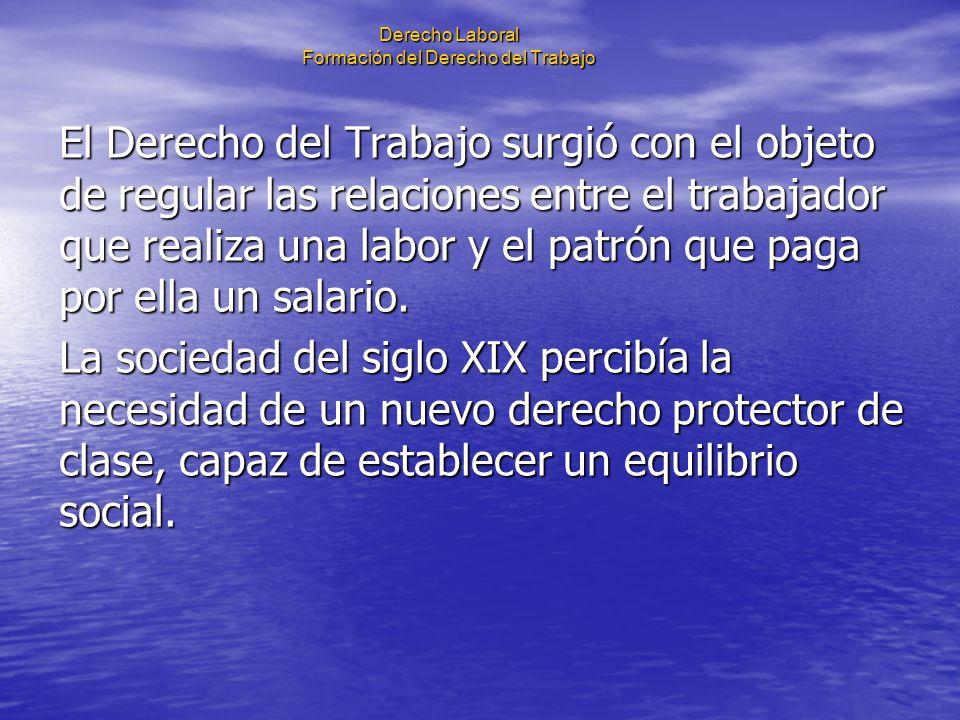 Derecho Laboral Formación del Derecho del Trabajo Algunos de los sucesos que fueron determinantes para configurar el derecho del trabajo: 1802.