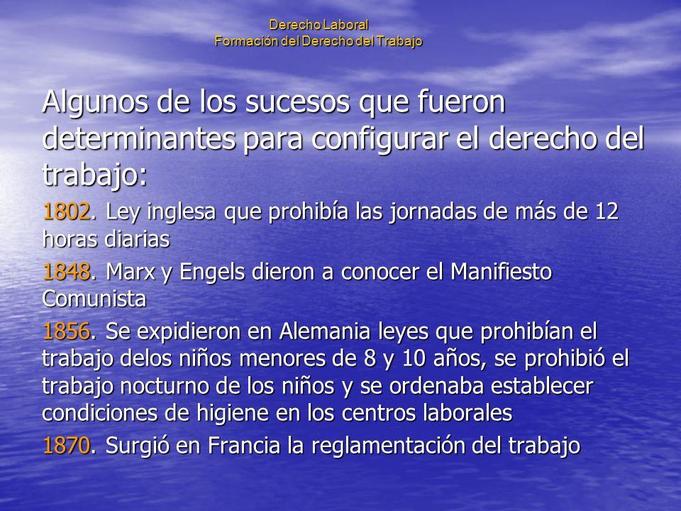 Derecho Laboral Formación del Derecho del Trabajo 1884.