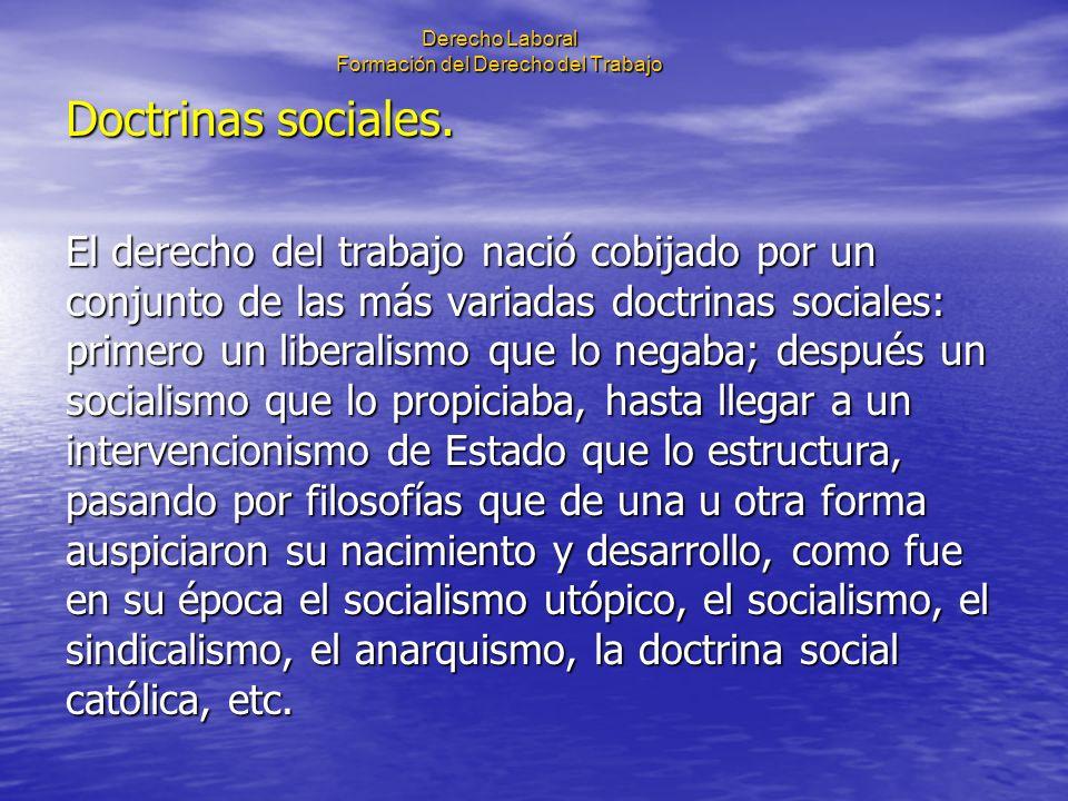 Derecho Laboral Formación del Derecho del Trabajo Doctrinas sociales. El derecho del trabajo nació cobijado por un conjunto de las más variadas doctri