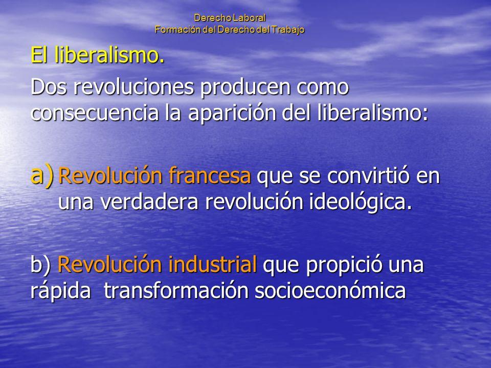 Derecho Laboral Formación del Derecho del Trabajo El liberalismo. Dos revoluciones producen como consecuencia la aparición del liberalismo: a) Revoluc