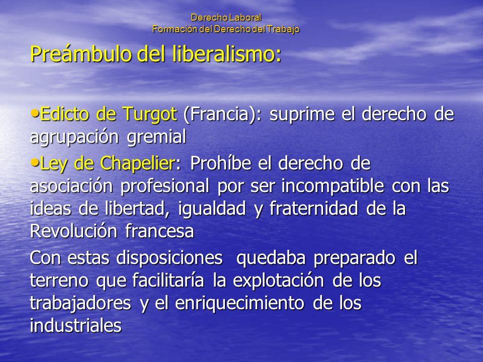 Derecho Laboral Formación del Derecho del Trabajo Preámbulo del liberalismo: Edicto de Turgot (Francia): suprime el derecho de agrupación gremial Edic