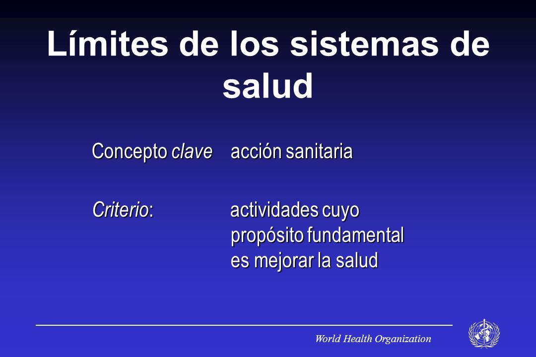 World Health Organization Límites de los sistemas de salud Concepto clave acción sanitaria Criterio : actividades cuyo propósito fundamental es mejorar la salud