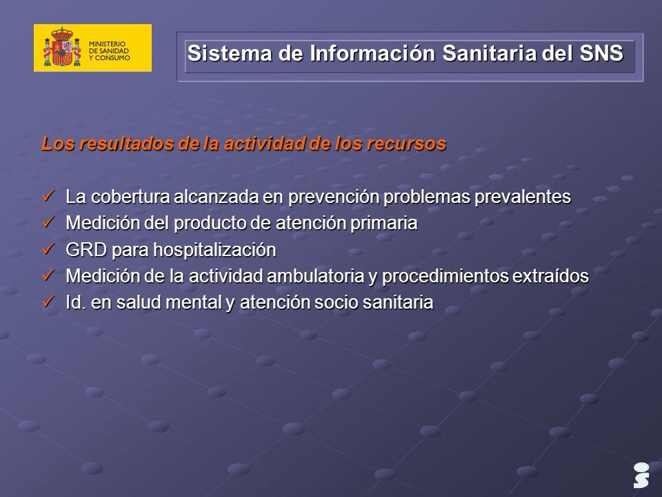 Los resultados de la actividad de los recursos La cobertura alcanzada en prevención problemas prevalentes La cobertura alcanzada en prevención problem