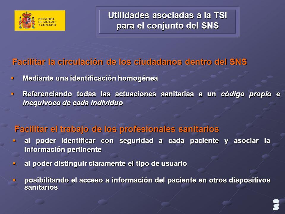 Utilidades asociadas a la TSI para el conjunto del SNS Mediante una identificación homogénea Mediante una identificación homogénea Referenciando todas