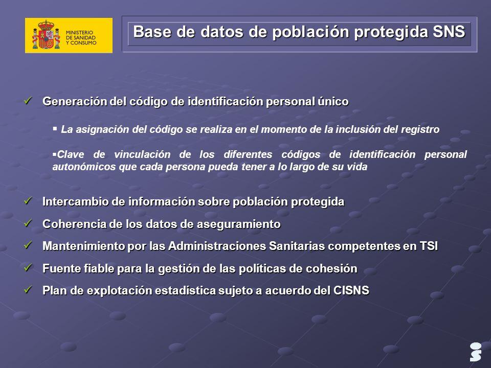 Base de datos de población protegida SNS Generación del código de identificación personal único Generación del código de identificación personal único