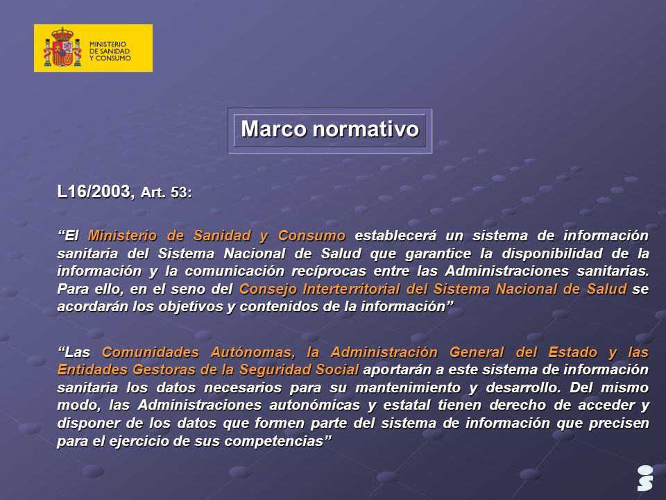 L16/2003, Art. 53: El Ministerio de Sanidad y Consumo establecerá un sistema de información sanitaria del Sistema Nacional de Salud que garantice la d