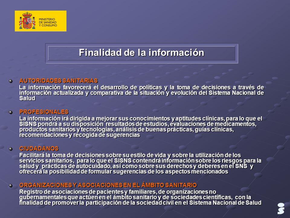 Finalidad de la información AUTORIDADES SANITARIAS La información favorecerá el desarrollo de políticas y la toma de decisiones a través de informació