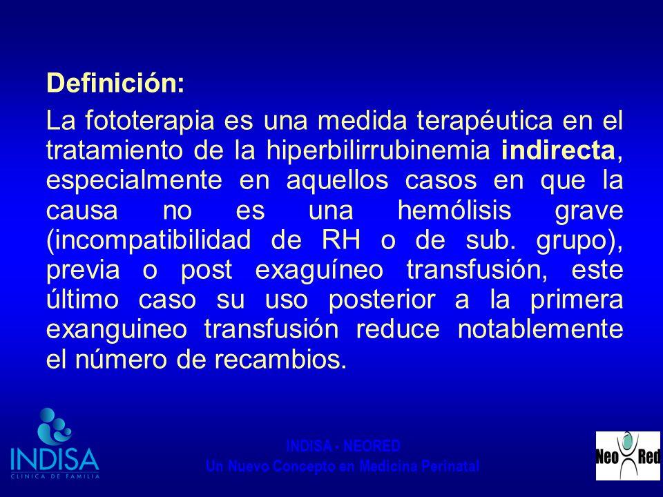 INDISA - NEORED Un Nuevo Concepto en Medicina Perinatal También es útil como profilaxis de la hiperbilibubinemia en el RN pre termino Definición: Es la exposición a una alta intensidad de luz del espectro visible que hace que disminuya la ictericia clínica y la hiperbilirrubinemia indirecta.