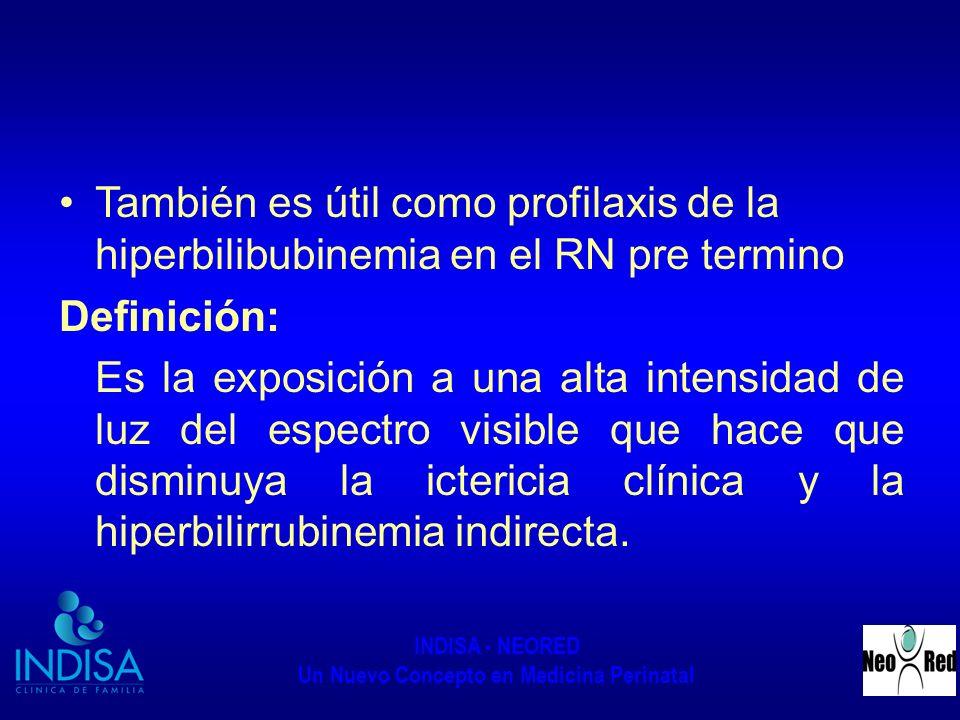 INDISA - NEORED Un Nuevo Concepto en Medicina Perinatal También es útil como profilaxis de la hiperbilibubinemia en el RN pre termino Definición: Es l