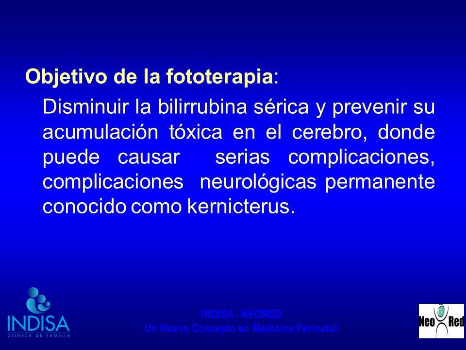 INDISA - NEORED Un Nuevo Concepto en Medicina Perinatal DESARROLLO DEL PROCEDIMIENTO: Verificar el correcto funcionamiento del equipo de fototerapia (tubos de luz completo, el equipo debe estar con la mica protectora, que este funcionando el sistema de ventilación) Deben ser equipos de fototerapia que cuenten con 6 a 8 fluorescentes El recién nacido debe estar a 40cm de distancia de la fototerapia Proteger los ojos del recién nacido con un antifaz negro, para prevenir daño en la retina.