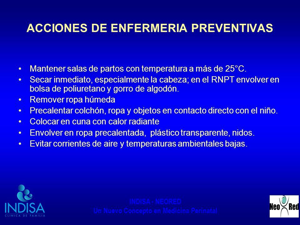 INDISA - NEORED Un Nuevo Concepto en Medicina Perinatal ACCIONES DE ENFERMERIA PREVENTIVAS Mantener salas de partos con temperatura a más de 25°C. Sec